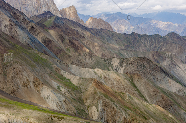View from the top of the Konze La at 4900m in the remote Himalayan region of Ladakh in northern India