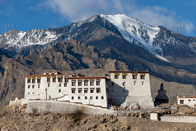 The Stakna Monastery in Ladakh in northern India with snow capped Himalayas in the background