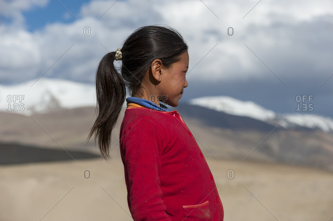 A nomad girl living in the nomad camp near Tso Moriri in Ladakh