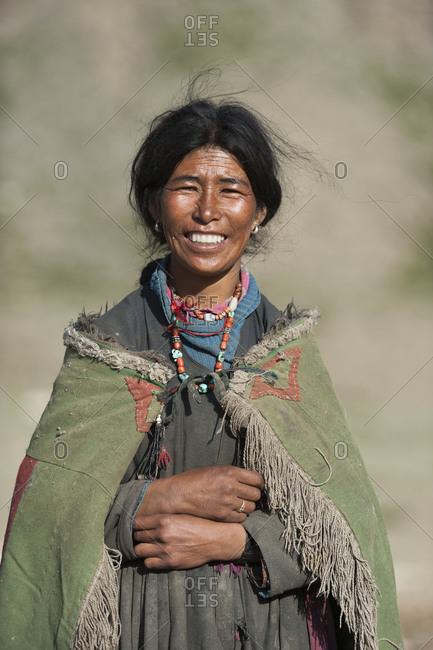 A nomad woman in the remote Rina camp in Ladakh