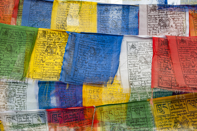 Nubra Valley, India - July 3, 2011: Colorful prayer flags in Nubra valley