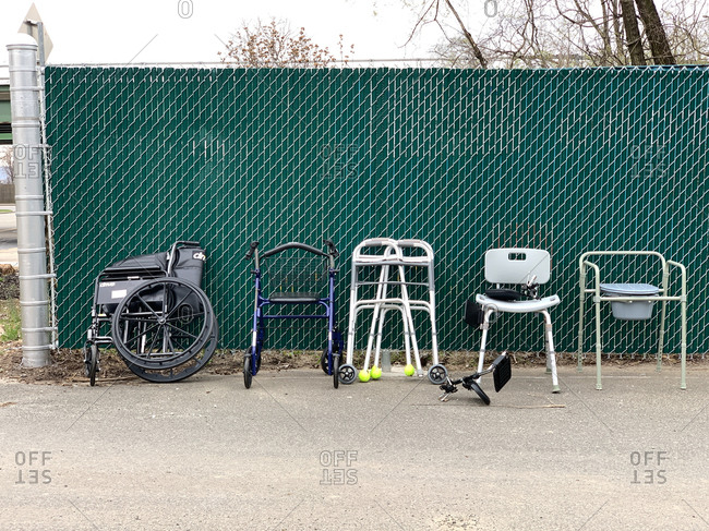 Hudson, NY - July 15, 2009: Equipment for the elderly and hospital patients outdoors