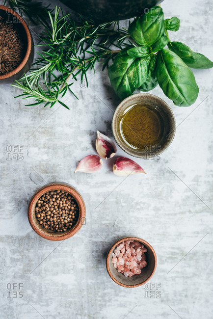 Different dry spice herbs and salt