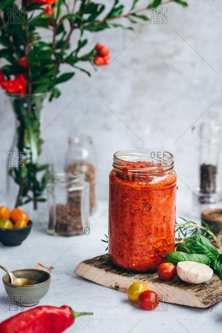 Homemade paprika sauce in a jar