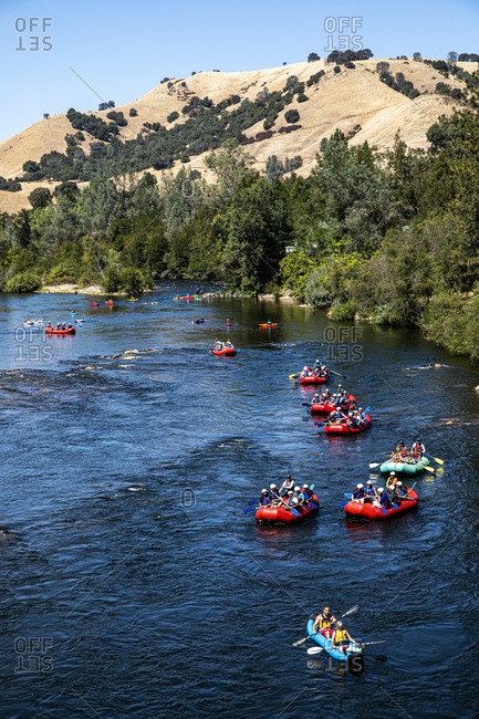 California, USA - September 14, 2019: Group of rafters on South Fork American River