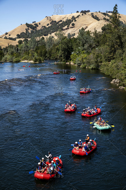 California, USA - September 14, 2019: Bird's eye view of rafting tour on South Fork American River
