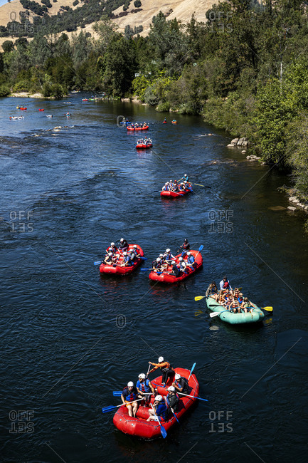 California, USA - September 14, 2019: Rafting tour on the South Fork American River
