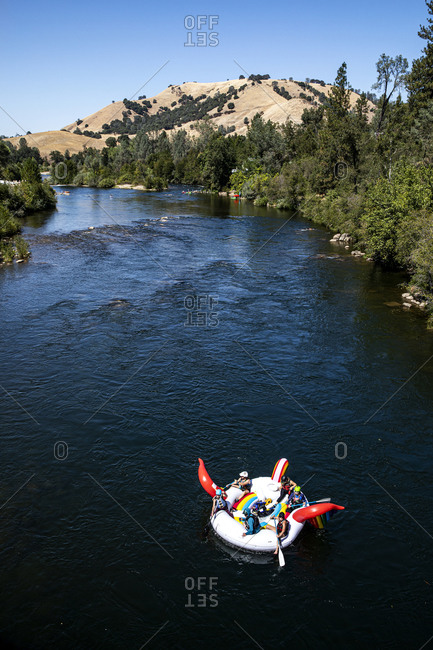 California, USA - September 14, 2019: Bird's eye view of people in raft on South Fork American River