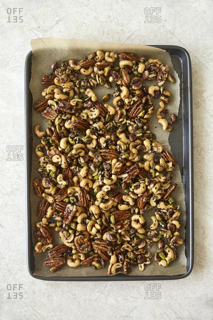 Variety of honey roasted nuts