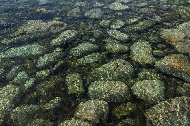 View of stones underwater in the sea