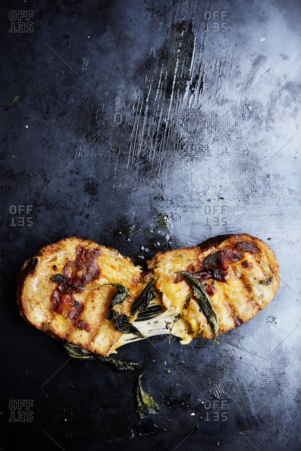 Grilled cheese sandwich with crispy sage on a black background