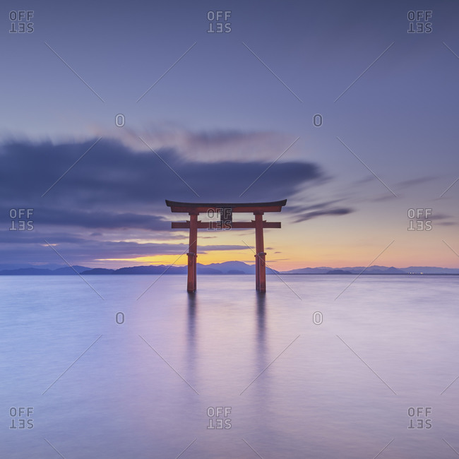 Long exposure shot of Shirahige shrine Torii gate at sunrise, Lake Biwa, Shiga Prefecture, Japan