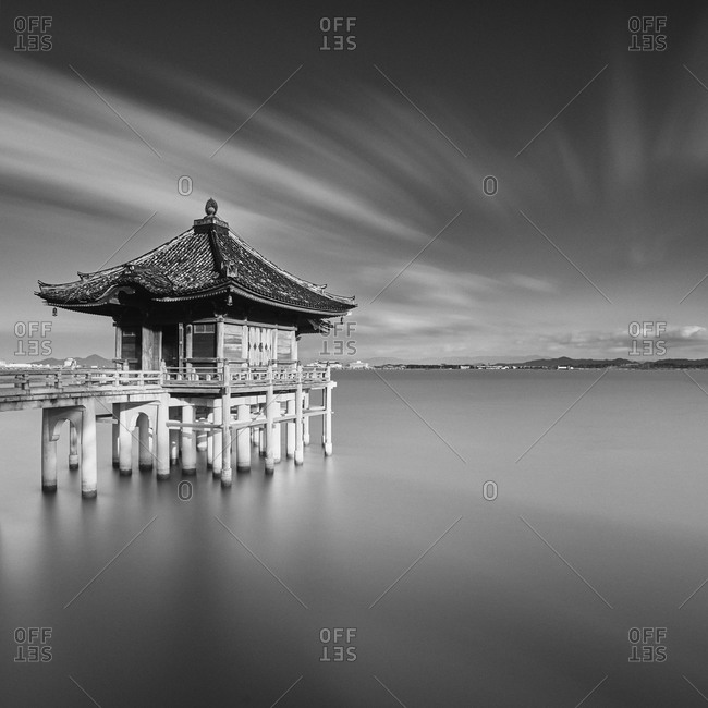 Long exposure shot of Ukimido floating shrine at sunset, Lake Biwa, Shiga Prefecture, Japan
