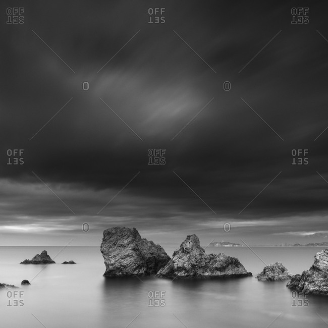 Long exposure shot of sea stacks in the morning at Morito beach, Miura Peninsula, Japan