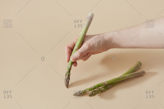 Female hand is painting by feshly picked natural organic asparagus spear as a creative paint brush on a sand yellow background, copy space.