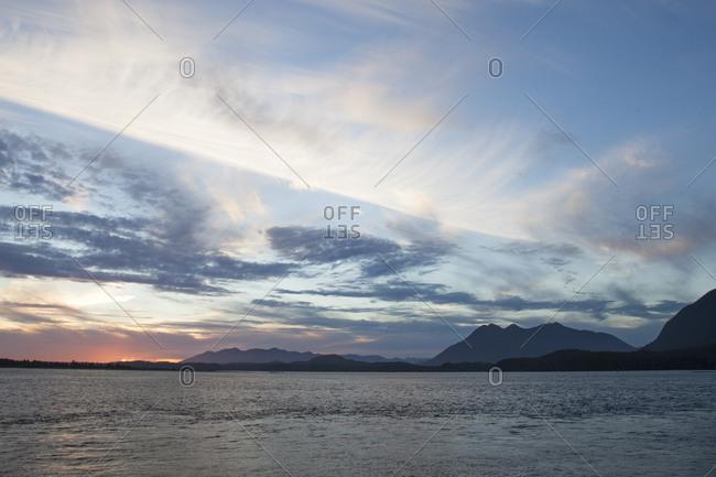 Sunset over the Pacific Ocean in Tofino, British Columbia