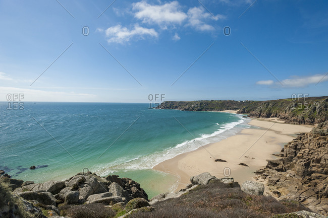 Standing near Logan Rock at the top of  Treen beach in Cornwall the westernmost part of the British Isles