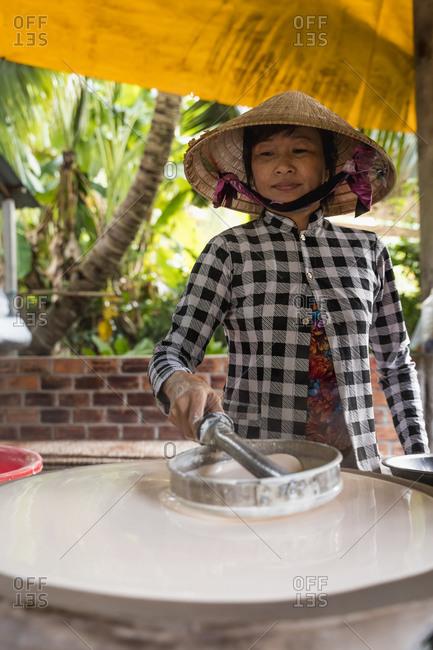 Woman producing noodles at home- Ho Chi Minh- Vietnam