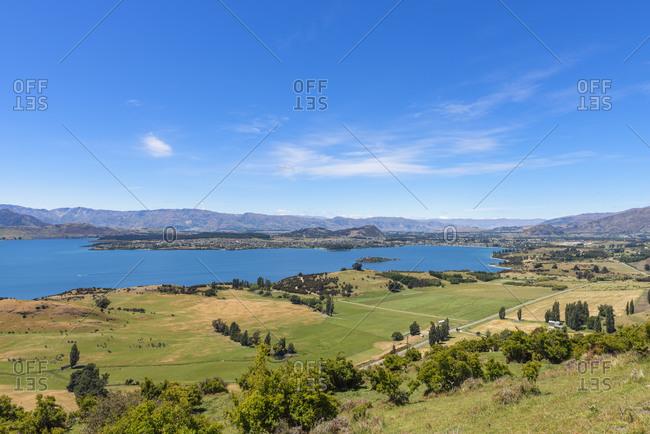 New Zealand- Otago- Wanaka- Green coastal landscape of Lake Wanaka in spring