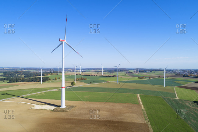 Germany- Baden-Wurttemberg- Drone view of clear sky over countryside wind farm