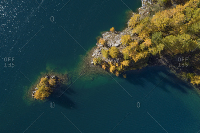 Switzerland- Canton of Grisons- Saint Moritz- Drone view of larch trees on small island in Lake Sils