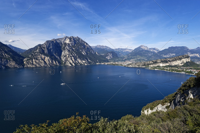 Italy- Trentino- Torbole- Lake Garda surrounded with mountains