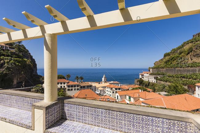 Portugal- Madeira Island- Ribeira Brava- Ponta do Sol- View of town and sea