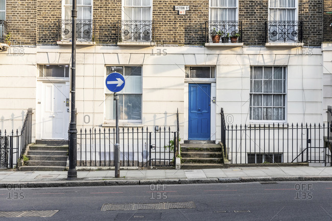 UK- England- London- Empty street and facade of residential building during COVID-19 pandemic