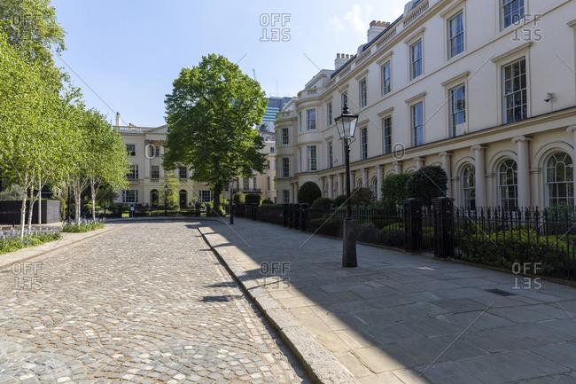 UK- London- Empty street near Regent's Park during curfew