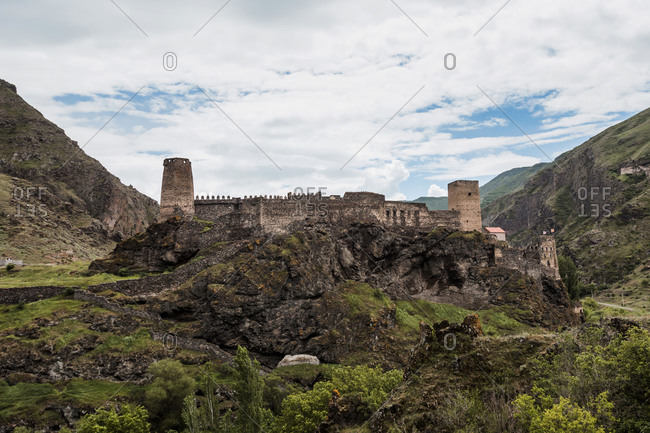Georgia- Landscape view of Ruins ofKhertvisi Fortress