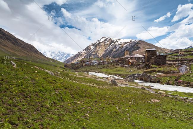 Georgia- Svaneti- Ushguli- Medieval village on bank ofEnguriRiver