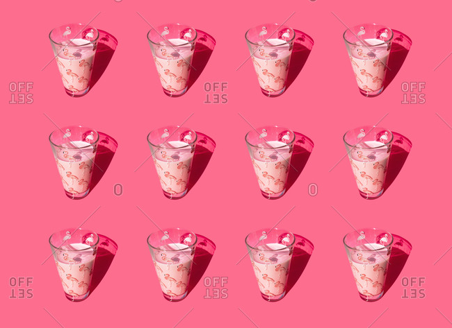 Glasses of milk with flamingos pattern