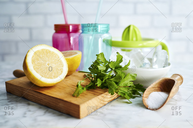 Ingredients for homemade lemonade on a kitchen counter