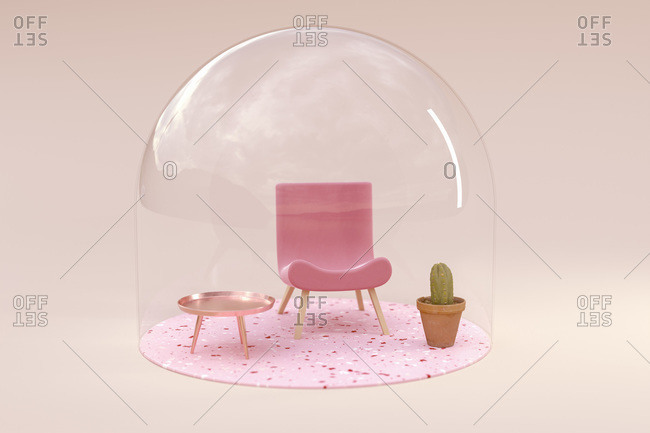 3D rendering- Miniature chair and table under bell jar