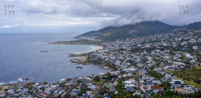 Panoramic aerial view of houses on the shoreline in Bakoven, Cape Town, South Africa