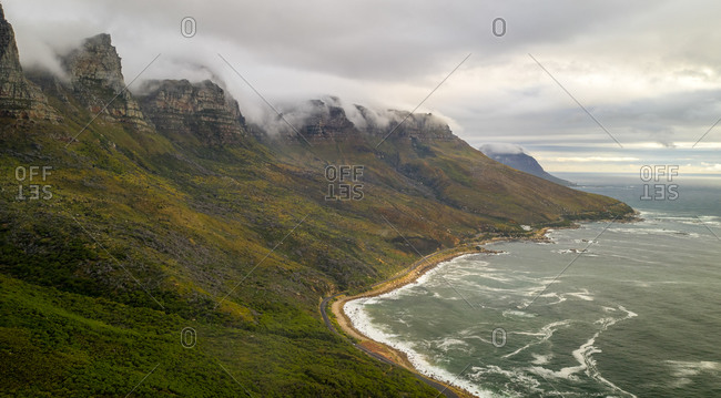 Panoramic aerial view of the coastline on cloudy day in Bakoven, Cape Town, South Africa