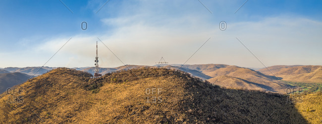 Panoramic aerial view of antennas on a mountain on sunny day in Sun City, South Africa