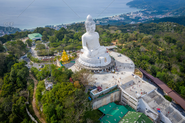 December 16, 2019: Aerial view of the Big Buddha on a mountain in Karon, Mueang Phuket District, Phuket, Thailand