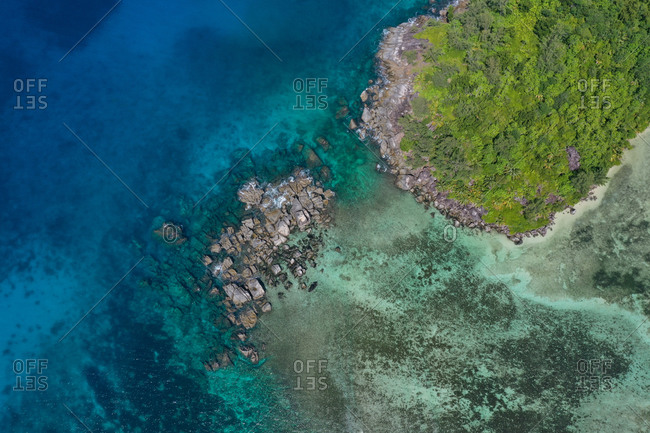 Aerial view of a granitic reef within the Port Launay Marine National Park, MahE, Seychelles