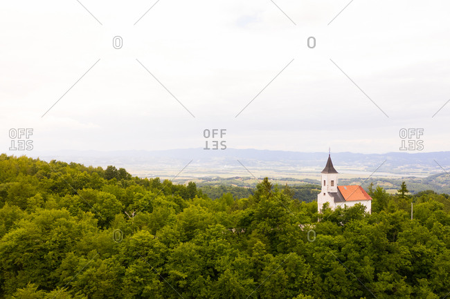 Aerial view of Sveti Juraj Velikomucenik, catholic church at Stojdraga, Croatia.