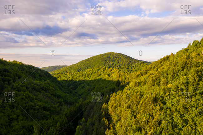 Aerial view of scenic sunrise at Zumberak and Samobor mountain range, Croatia.