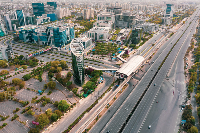 April 18, 2020: Aerial view of empty streets due to the coronavirus pandemic in Gurgaon, Haryana, India