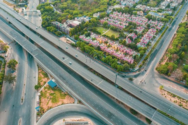 Aerial view of empty streets due to the coronavirus pandemic in Gurgaon, Haryana, India