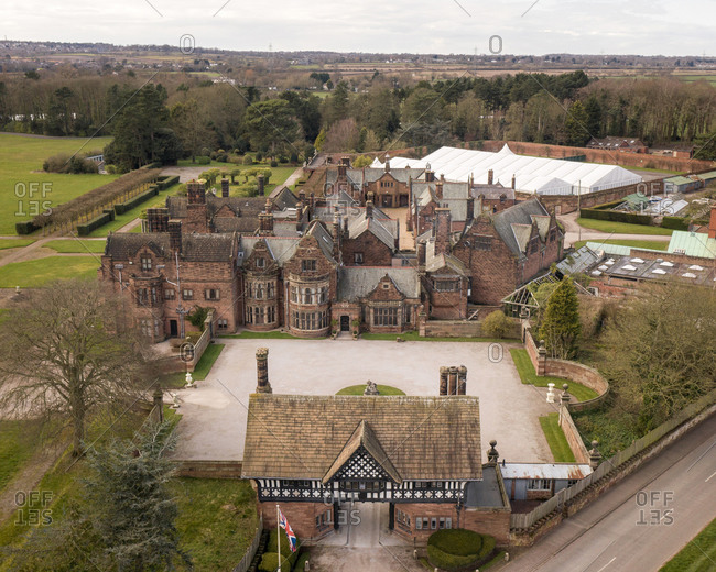 Aerial view of Thornton Manor Estate with trees in the background in Birkenhead, UK