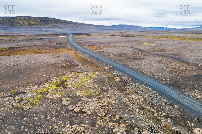 Aerial view of the Sprengisandur 4WD road through the desolate and uninhabited highlands of Iceland