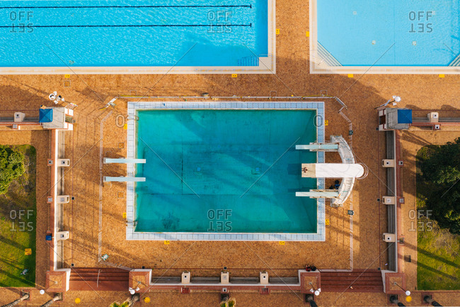 September 13, 2019: Aerial view of Sea Point Pool, Cape Town, South Africa.