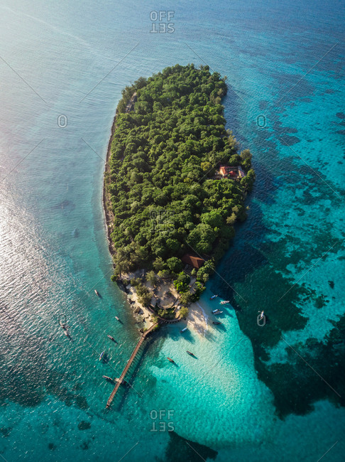 Aerial view of Changuu Island, called Prison Island. The siand was used as a prison for the rebellious slaves in 1860s, Zanzibar