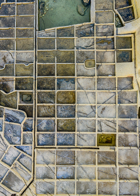 Aerial view of traditional Salt Pans in Malta and Gozo