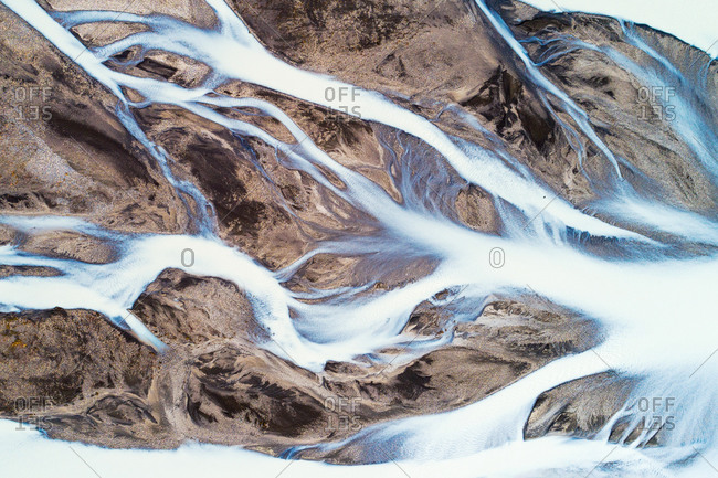 Aerial view, top down, of Jokulvisl glacial river in Kerlingarfjll area in the highlands of Iceland