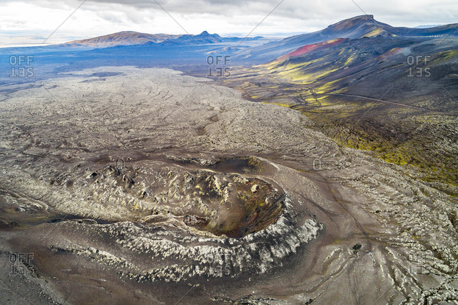Aerial view of a crater and a lava field on a northern slope of Hekla volcano, Iceland